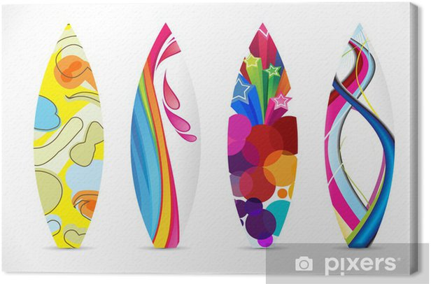 Abstract Colorful Surf Board Icon Canvas Print • Pixers