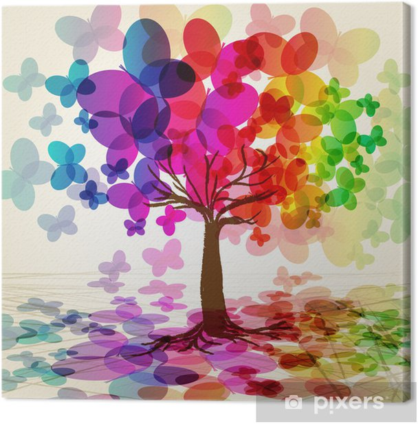 Abstract colorful Tree. Vector. Canvas Print - Styles