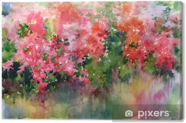 Abstract Flowers Watercolor Painting Spring Multicolored Flowers Canvas Print