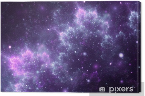 Abstract fractal, decorative sparkling violet cosmic clouds with soft blur on dark background Canvas Print - Graphic Resources