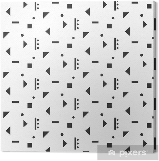 Abstract geometric shapes white seamless pattern. Vintage geometry inspired seamless grey on white. Canvas Print - Graphic Resources