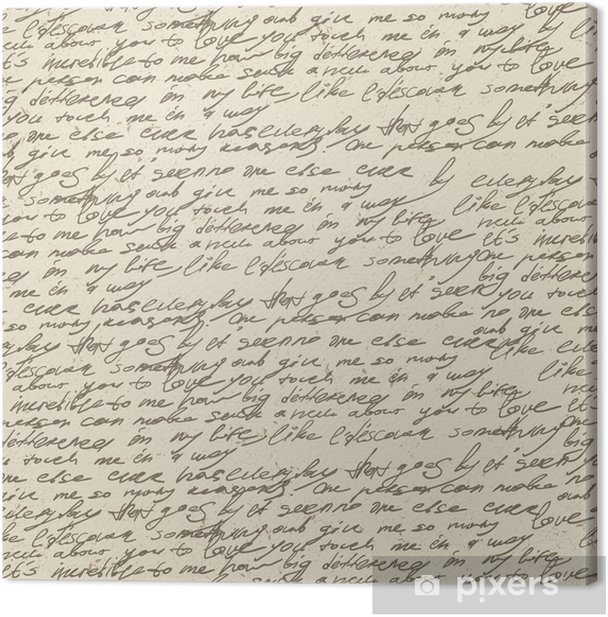 Abstract handwriting on old vintage paper. Seamless pattern, vec Canvas Print -