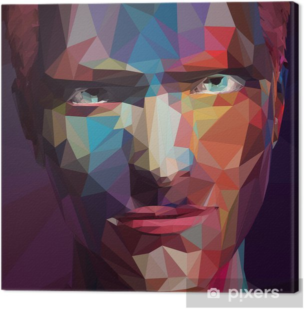 Abstract low poly, pop art portrait man. Canvas Print - Signs and Symbols
