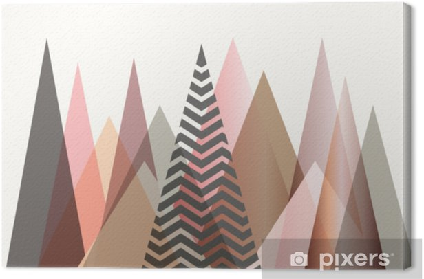 Abstract mountain landscape in Scandinavian style design Canvas Print - Graphic Resources