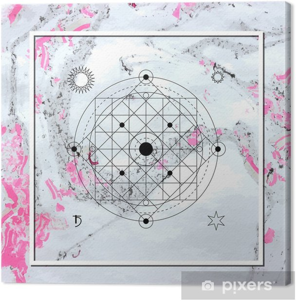 Abstract mystical geometry, linear alchemy, occult, philosophical sign. Canvas Print - Graphic Resources