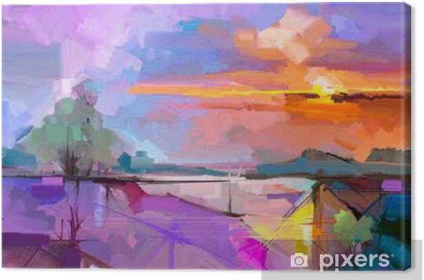 Abstract oil painting landscape background. Artwork modern oil painting outdoor landscape. Semi- abstract of tree, hill with sunlight (sunset), colorful yellow - purple sky. Beauty nature background Canvas Print - Hobbies and Leisure