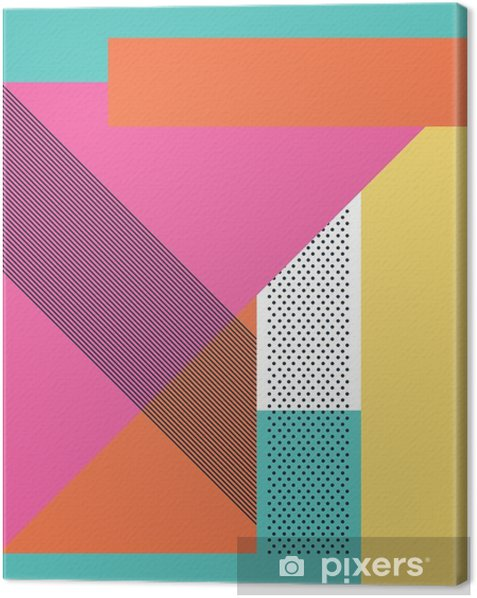 Abstract retro 80s background with geometric shapes and pattern  Material  design wallpaper  Canvas Print