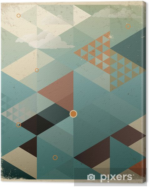 Abstract Retro Geometric Background with clouds Canvas Print -