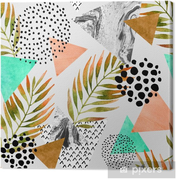 Abstract summer geometric seamless pattern Canvas Print - Graphic Resources