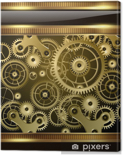 Abstract technology background gold machinery Canvas Print - Sales