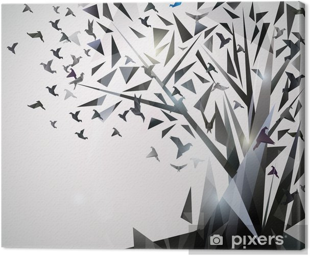 Abstract Tree with origami birds. Canvas Print - Themes