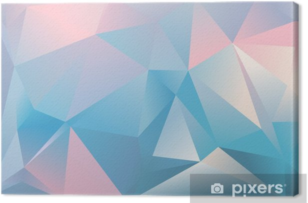 Abstract Triangle Background Light Blue Pink And White Colour Canvas Print