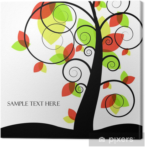 Abstract vector tree with colored leaves Canvas Print - Trees
