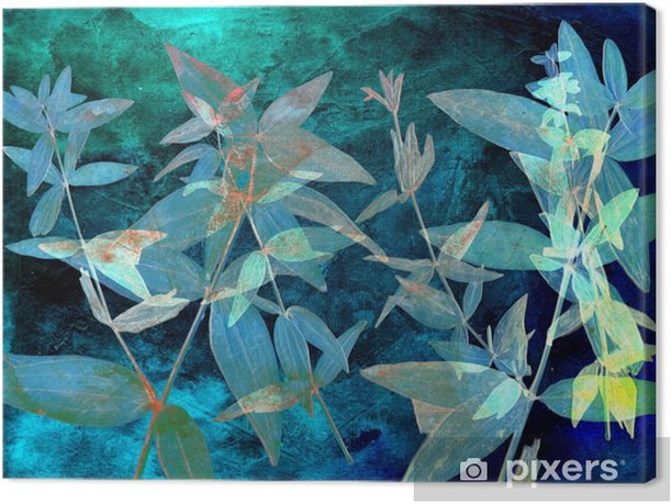 Abstract watercolor background and branch plant. Mixed media Canvas Print - Graphic Resources
