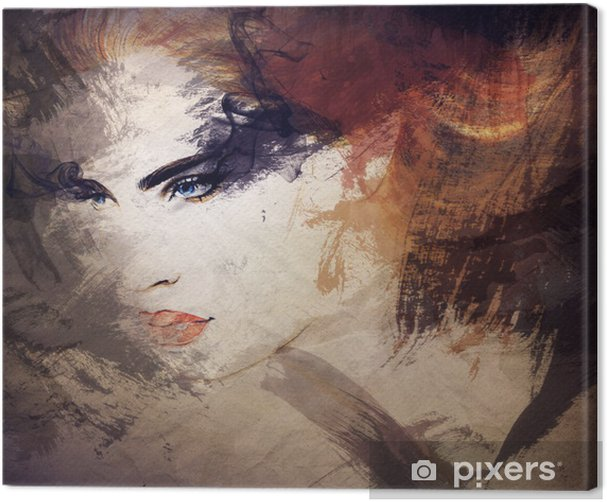abstract watercolor .woman portrait Canvas Print - Styles