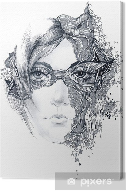 abstract woman face Canvas Print - Wall decals
