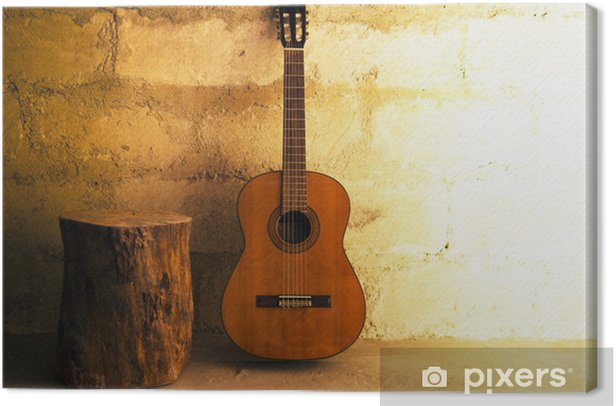 Acoustic guitar on old wall - copyspace Canvas Print - Themes
