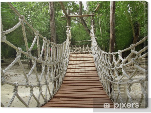 Adventure wooden rope jungle suspension bridge Canvas Print - Themes