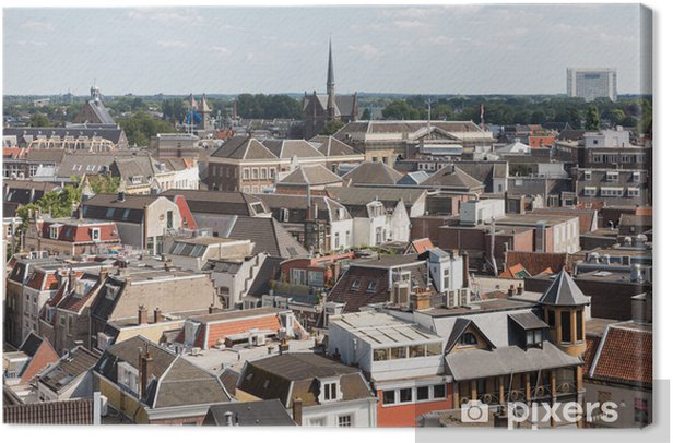 Aerial cityscape of medieval city Utrecht, the Netherlands Canvas Print - Europe