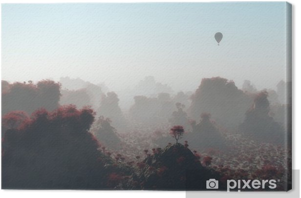 Aerial of hot air balloon flying over autumn mountain landscape Canvas Print - Landscapes