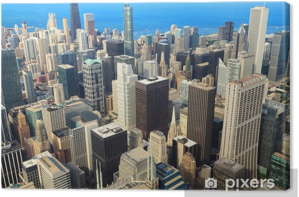 Aerial View of Downtown Chicago Canvas Print - Themes