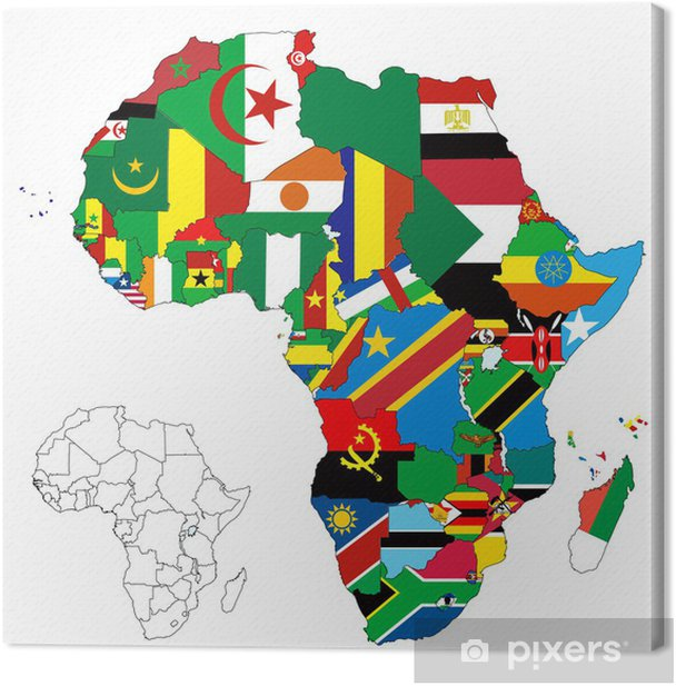 Africa Continent Flag Map Canvas Print - Africa