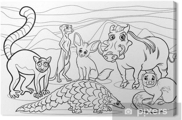 african animals cartoon coloring page Canvas Print - Imaginary Animals