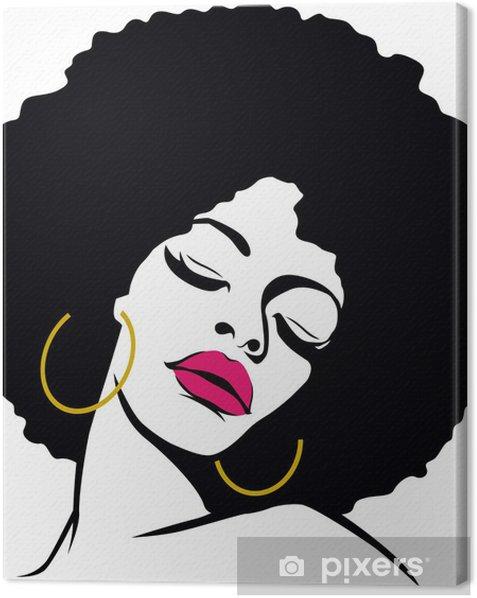 afro hair hippie woman pop art Canvas Print - Themes