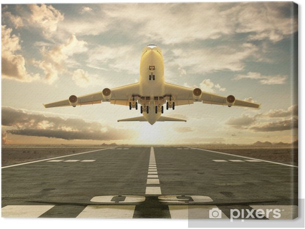 Airplane taking off at sunset Canvas Print - Themes