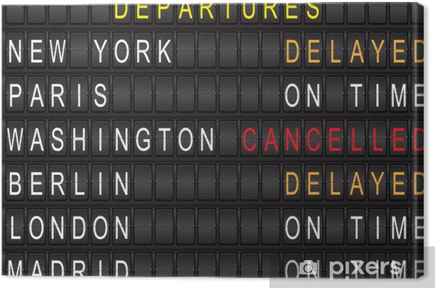 Airport departure arrival destination mechanical analog old style Canvas  Print