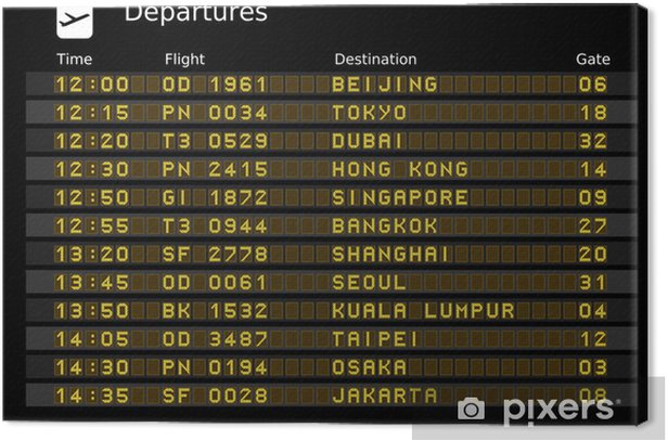 Airport departure board - destinations in Asia Canvas Print - Infrastructure
