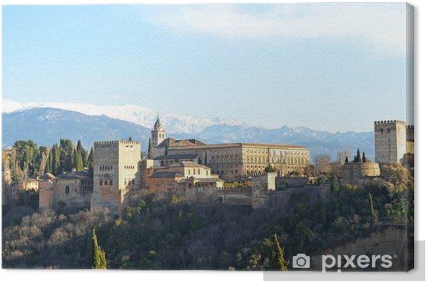 Alhambra de Granada, Sierra Nevada, Andalucía, España Canvas Print - Europe