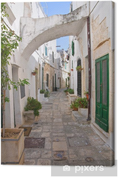 Alleyway. Ostuni. Puglia. Italy. Canvas Print -