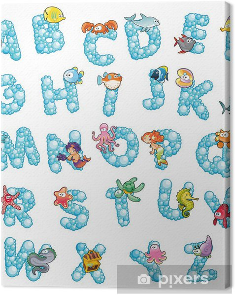 Alphabet with bubbles. Vector isolated letters. Canvas Print - Themes