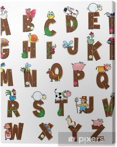Alphabet with farm characters. Vector isolated letters. Canvas Print - Themes