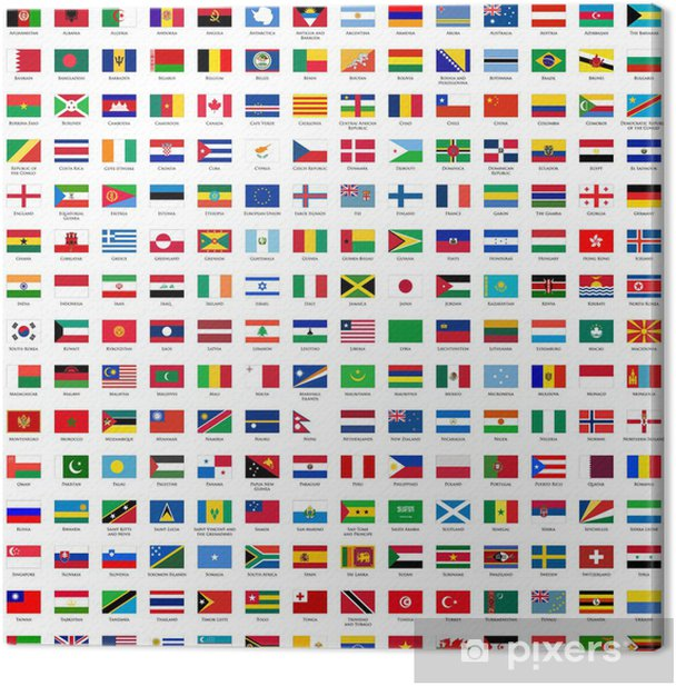 alphabetically sorted flags of the world Canvas Print - Signs and Symbols