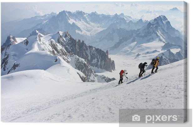 Alpinistes vers le Mont Blanc Canvas Print - Outdoor Sports