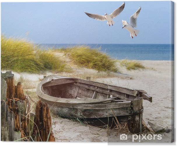 altes Fischerboot, Möwen, Strand und Meer Canvas Print - Ships, yachts and boats