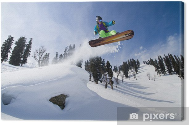 Amazing jump on a snowboard Canvas Print - Winter