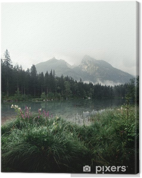 Amazing misty summer day on the Hintersee lake in Austrian Alps, Europe. Landscape photography Canvas Print - Landscapes