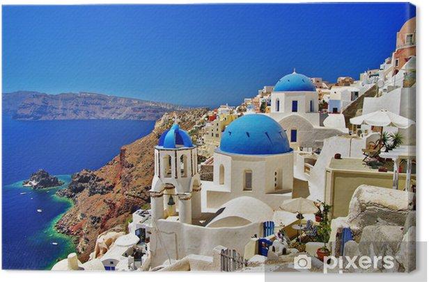 amazing white-blue Santorini Canvas Print - Themes