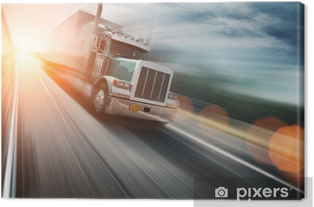 American truck on freeway, blurred motion Canvas Print - On the Road