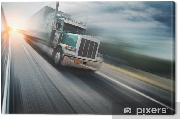 American truck speeding on freeway. Blurred motion. Canvas Print - On the Road