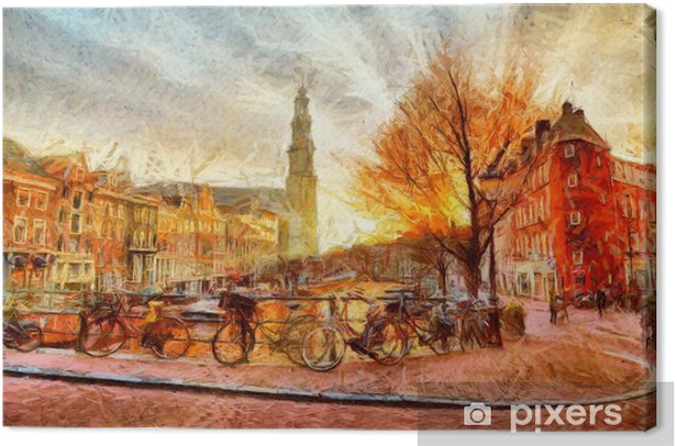 Amsterdam canal at evening impressionistic painting Canvas Print - Landscapes