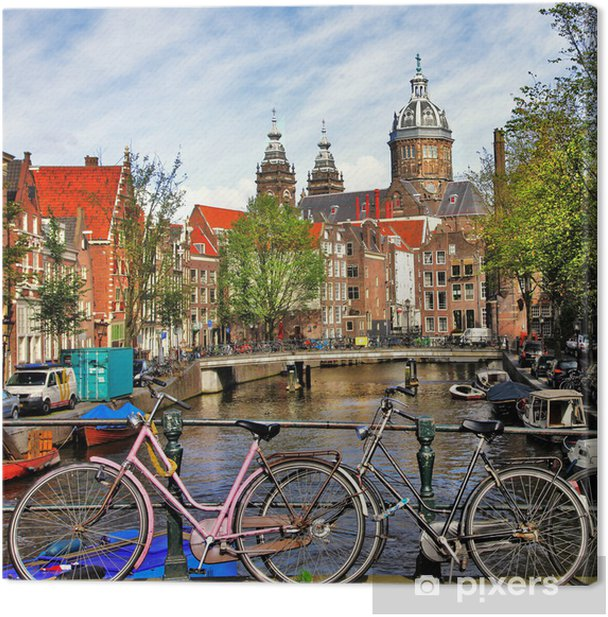 Amsterdam, canals and bikes Canvas Print - Themes