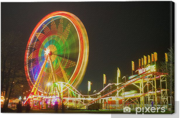 Amusement park at night - ferris wheel and rollercoaster Canvas Print - Entertainment