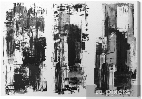 An Abstract Paint Splatter Frame In Black And White Canvas Print