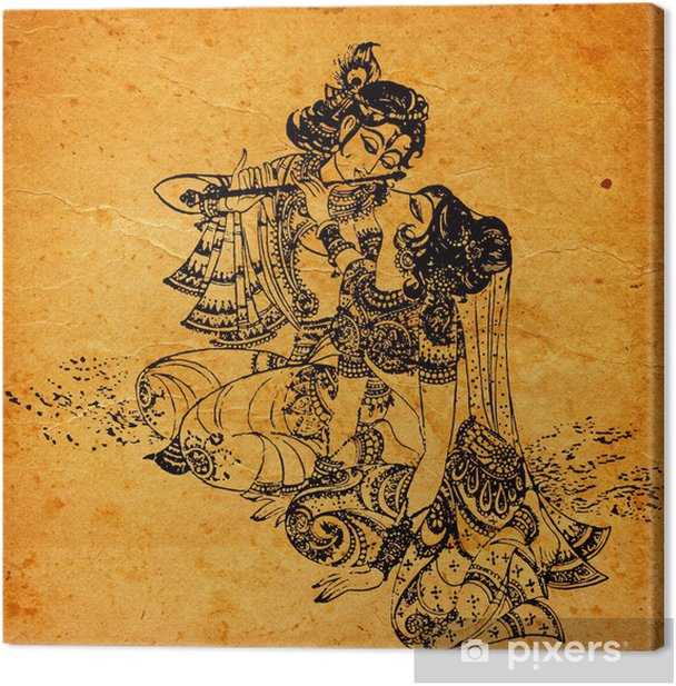 An old Radha Krishna paintings Canvas Print - Themes