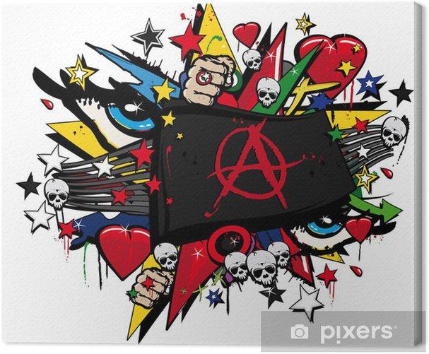 Anarchy anarchist flag graffiti flag street art illustration Canvas Print - Wall decals