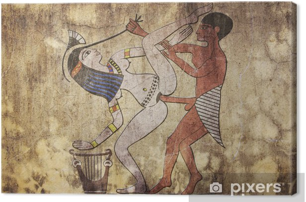 ancient Egypt - erotic drawing looks like fresco Canvas Print - Art and Creation